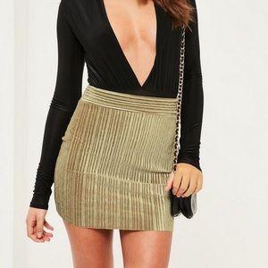 Misguided velvet pleated miniskirt